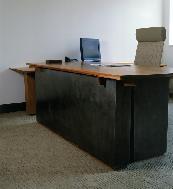 Executive Desk in Cherry and Oxidized Zinc