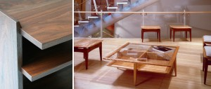 Walnut End Table and Asia Society Benches and Table in Flame Birch