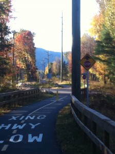 The bike path to work in mid autumn.