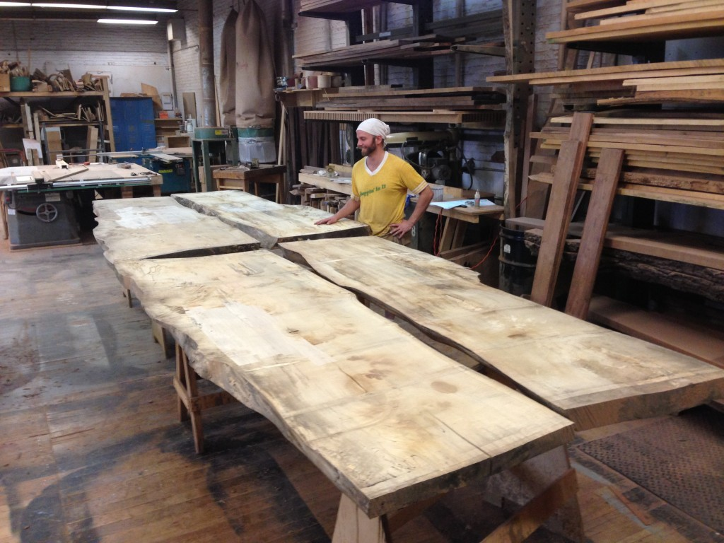 Spalted Maple slabs about to become conference table.