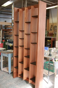 A version of our Foiio Shelves in Ribboned Sapele with Wenge shelves.