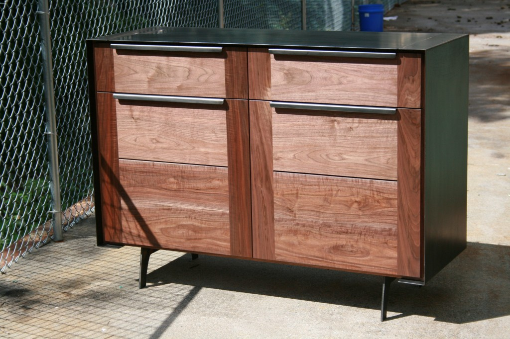 Wrapped Media Cabinet in Blackened Steel and Walnut